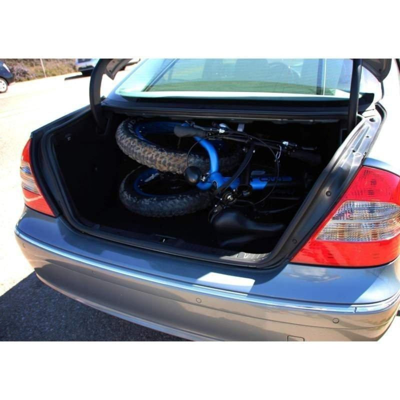 E-Mojo 500W Lynx Fat Tire folded bicycle in trunk of car