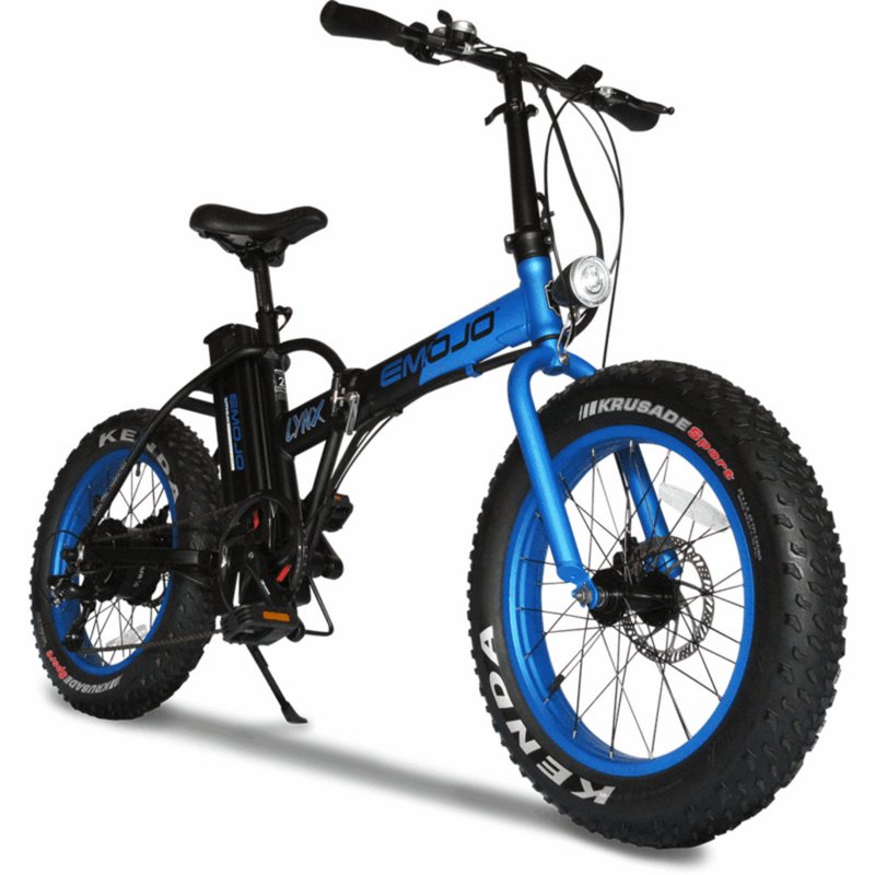 E-Mojo 500W Lynx Fat Tire blue bicycle front