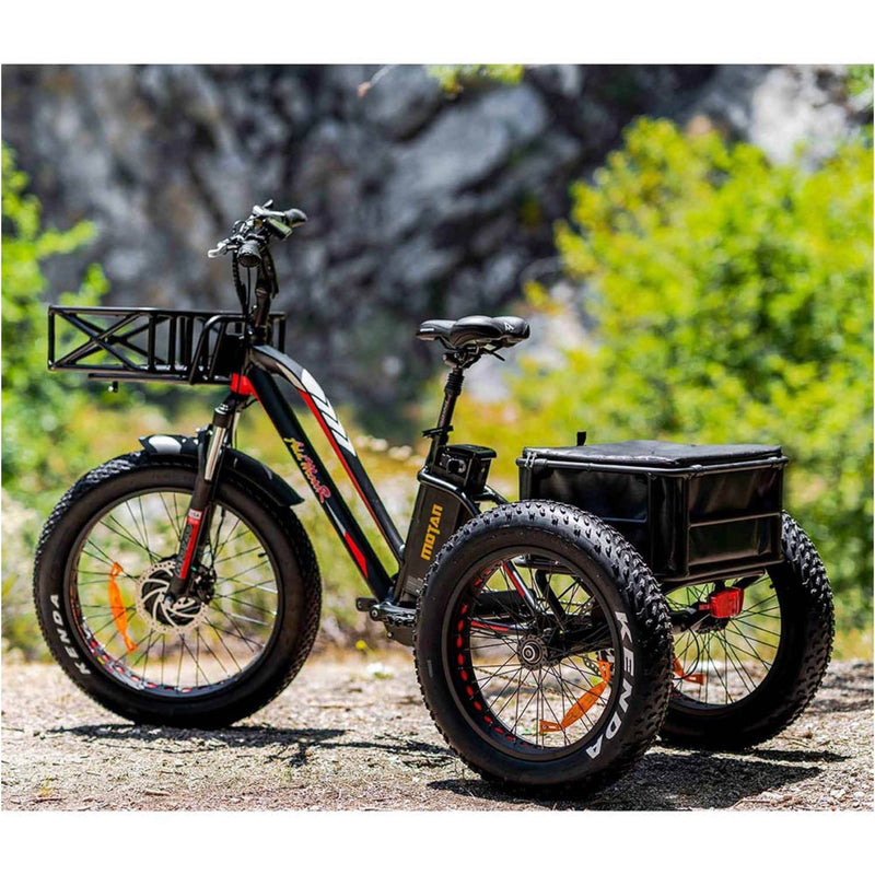 AddMotor 750W MOTAN M-350 P7 Fat Tires 750 Watt Motor Electric Tricycle - parked outside