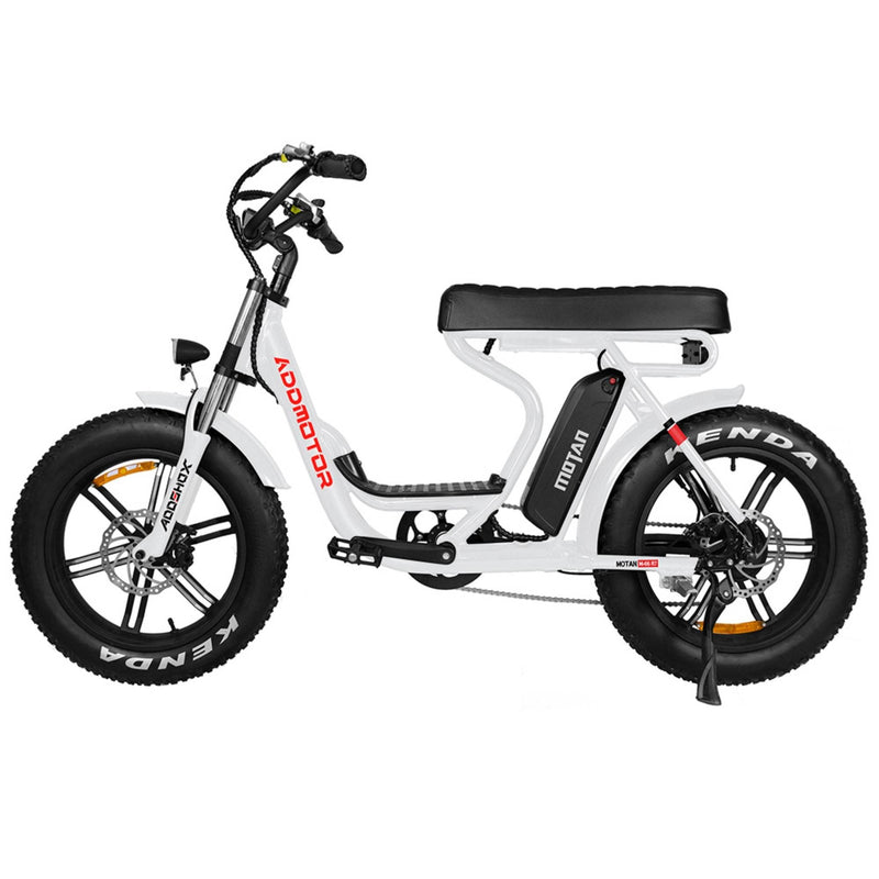 Electric Bike AddMotor 750W MOTAN M 66 R7 Mini Moped Step Thru Fat Tire Electric Bike Pearl White Right Side View