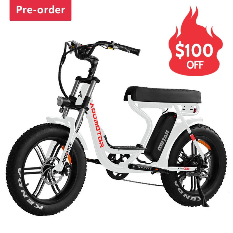Electric Bike AddMotor 750W MOTAN M 66 R7 Mini Moped Step Thru Fat Tire Electric Bike Pearl White Profile