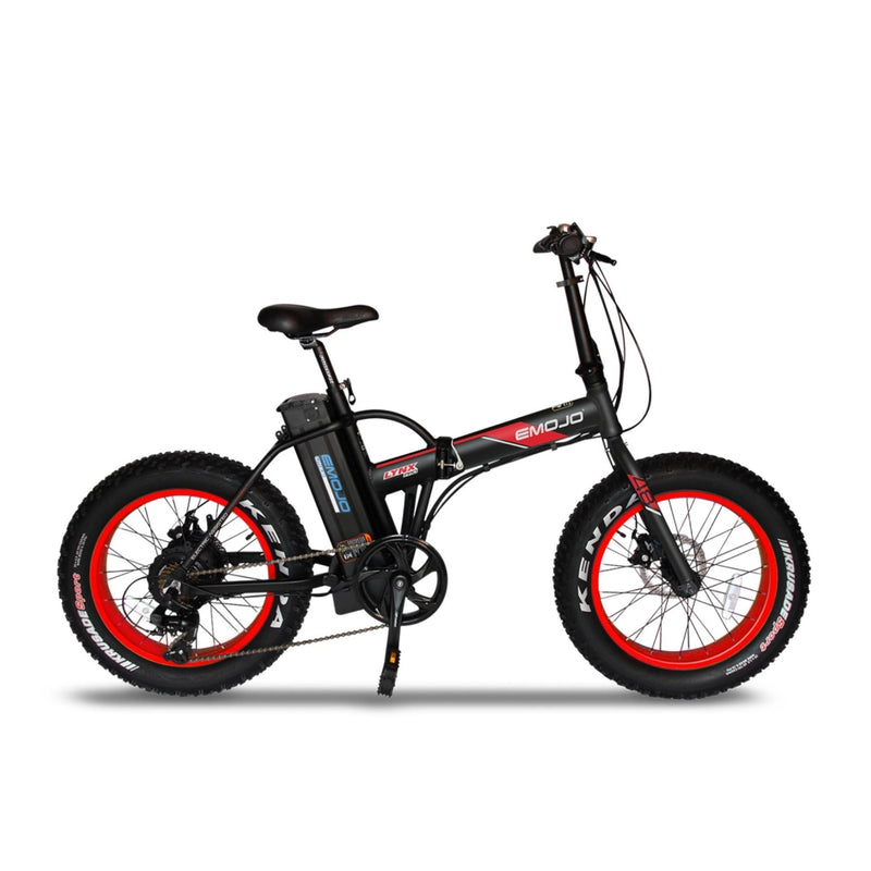 E-Mojo 500W Lynx PRO Fat Tire Folding red rims bicycle side
