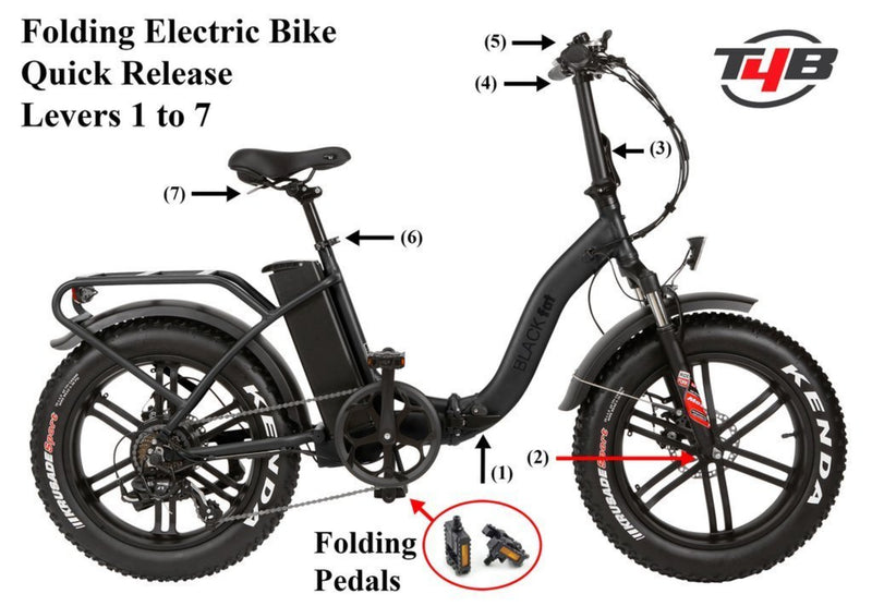 T4B 350W Fat Black 2-Way Fat Tire Folding specifications