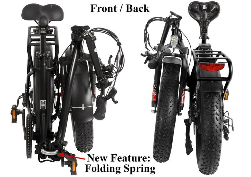 T4B 350W Fat Black 2-Way Fat Tire Folding folded bicycle