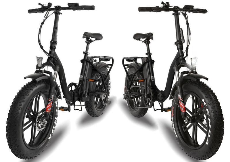 T4B 350W Fat Black 2-Way Fat Tire Folding front facing bicycles