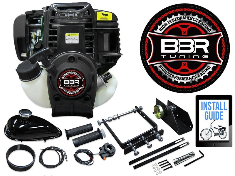 BBR Tuning 38cc Lock-N-Load Friction Drive Bicycle Engine Kit- 4-Stroke - engine with parts