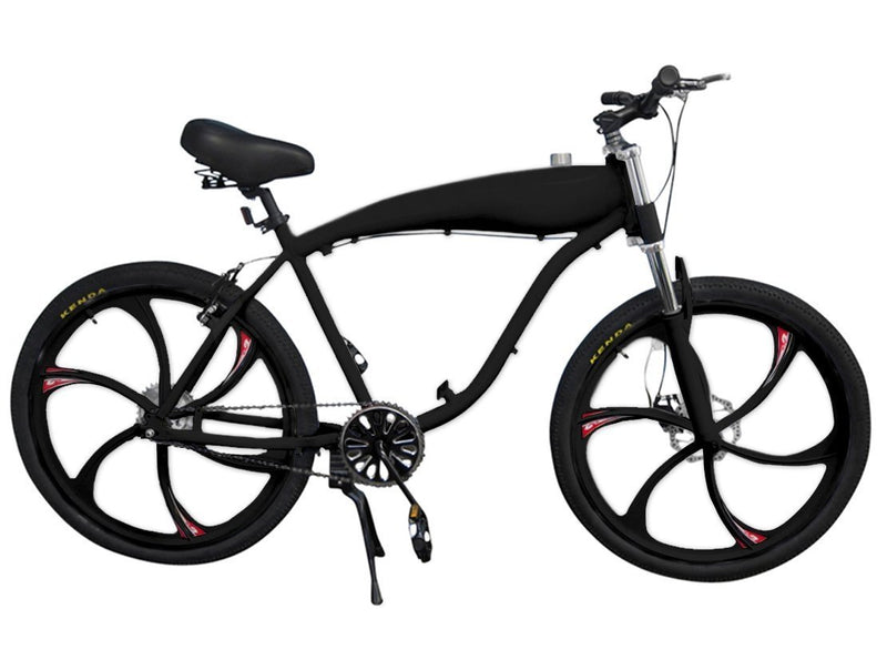 Chain Drive 79cc 4-Stroke Motorized Bicycle 26 Inch BBR Motor-Ready W/ 2.4L In-Frame Gas Tank - black bike