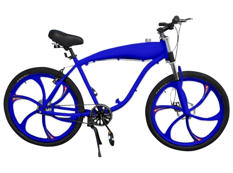 Chain Drive 79cc 4-Stroke Motorized Bicycle 26 Inch BBR Motor-Ready W/ 2.4L In-Frame Gas Tank - blue bike