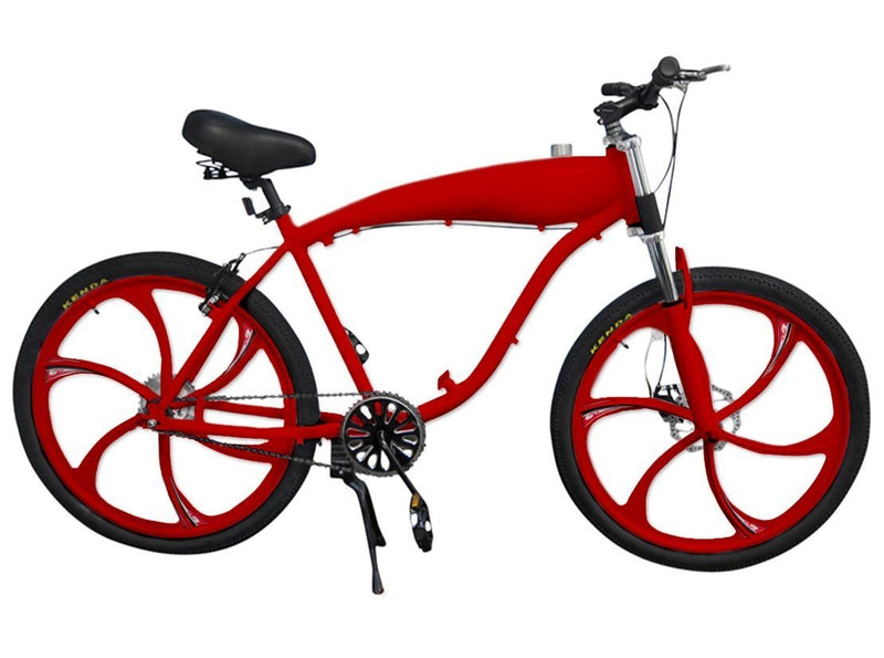 Chain Drive 79cc 4-Stroke Motorized Bicycle 26 Inch BBR Motor-Ready W/ 2.4L In-Frame Gas Tank - red bike
