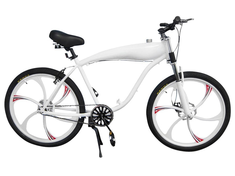 Chain Drive 79cc 4-Stroke Motorized Bicycle 26 Inch BBR Motor-Ready W/ 2.4L In-Frame Gas Tank - white bike