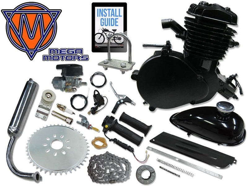 66/80cc Mega Motors Black Bicycle Engine Kit- 2 Stroke - engine with parts