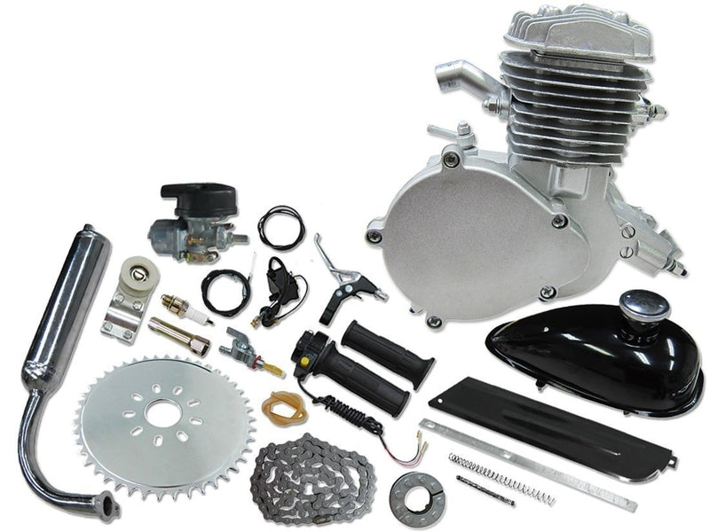 66/80cc Mega Motors Silver Bicycle Engine Kit- 2 Stroke - engine no logo