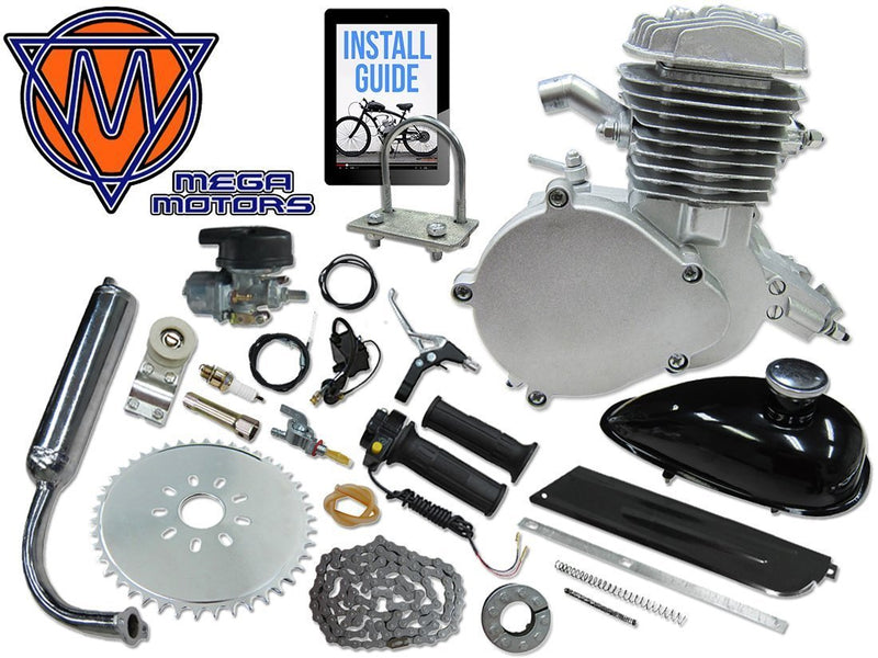 66/80cc Mega Motors Silver Bicycle Engine Kit- 2 Stroke - engine with parts