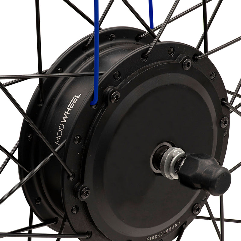 ModWheel 36v 250w 26 Inch Geared Front Wheel Electric Bike Kit + Optional Battery - close up of wheel