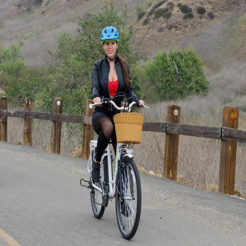 Nakto 250W Camel City Women's woman riding bicycle on road