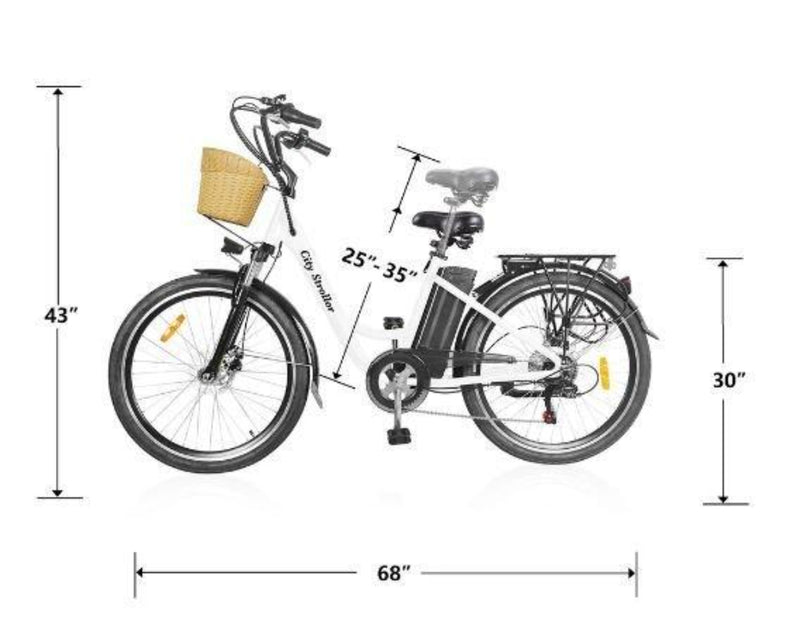 Nakto 350W City Electric Bicycle Aluminium Alloy Frame 26'' Strollor - bicycle measurements