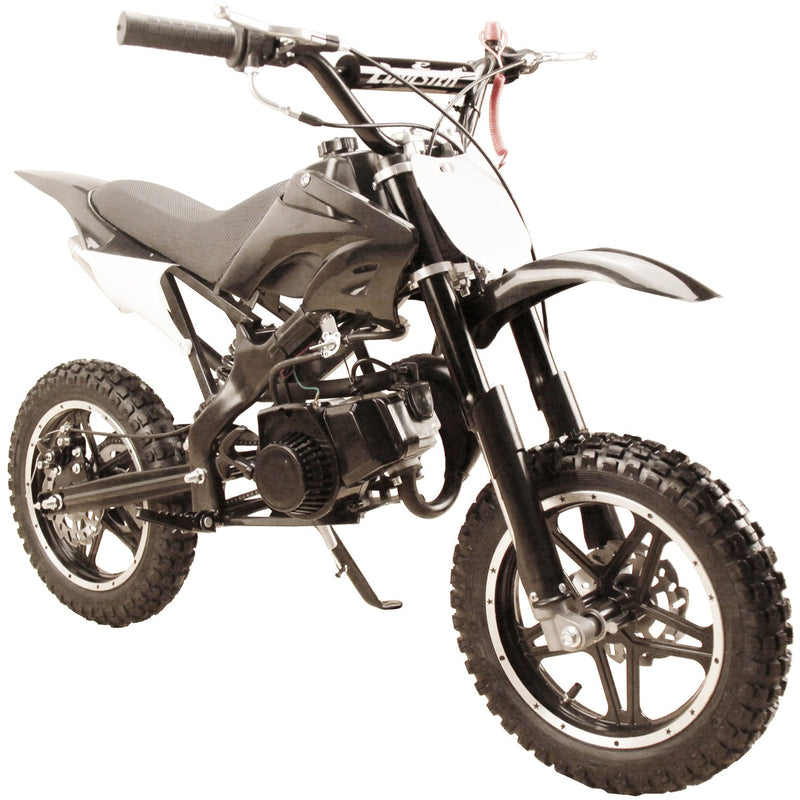 49cc 50cc High Performance 2-Stroke Gas Motorized Mini Dirt Pit Bike - black front