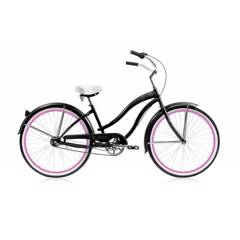"26"" Micargi Women's Rover NX3 black with pink wrims - side of bicycle"