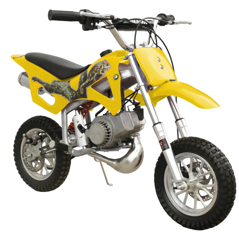 49cc 50cc 2-Stroke Gas Motorized Mini Dirt Pit Bike - yellow front