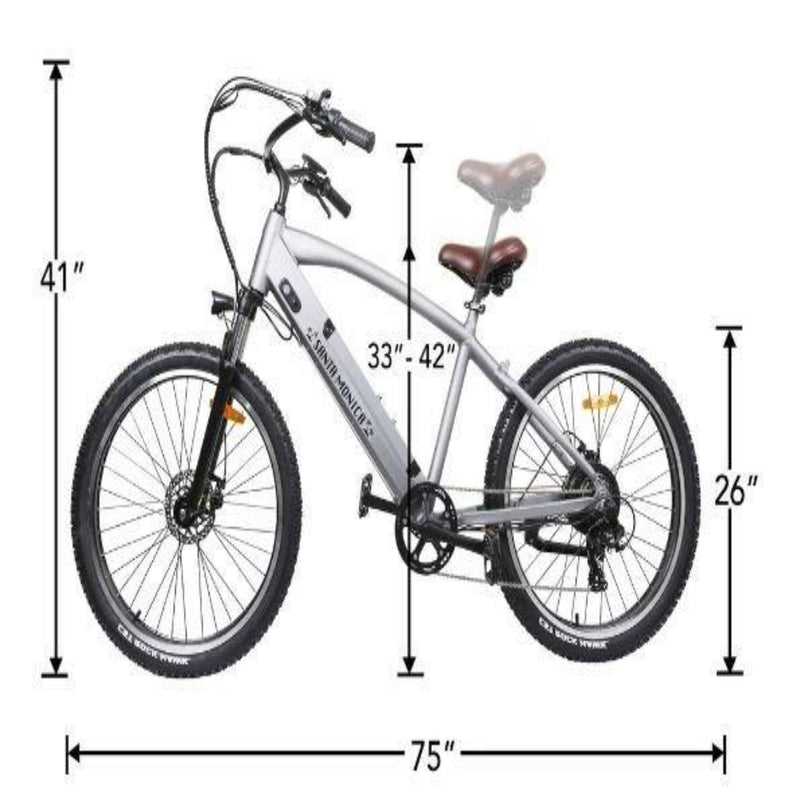 Nakto 500W Electrical Bicycle 26'' Santa Monica - side with measurements