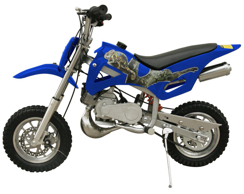 49cc 50cc 2-Stroke Gas Motorized Mini Dirt Pit Bike - blue side