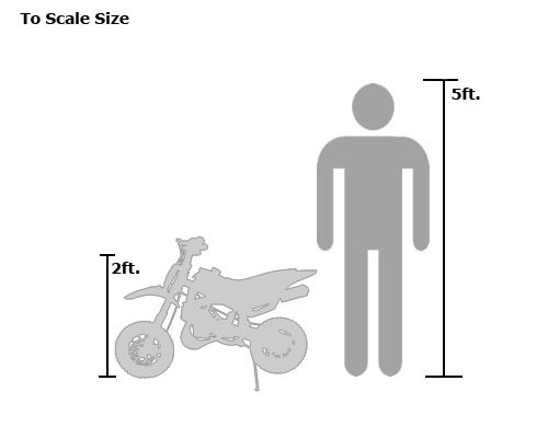 49cc 50cc 2-Stroke Gas Motorized Mini Dirt Pit Bike - bike measurement