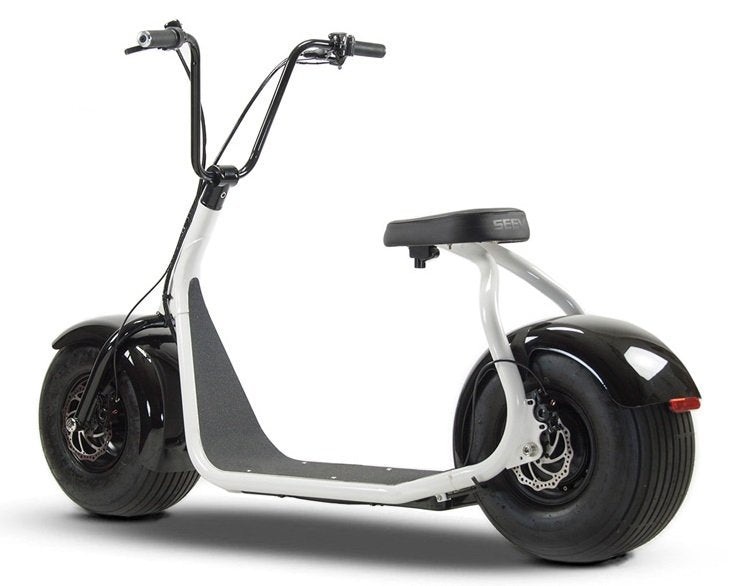 SSR Motorsports 800W SEEV-800 Fat Tire Electric Scooter - white scooter side