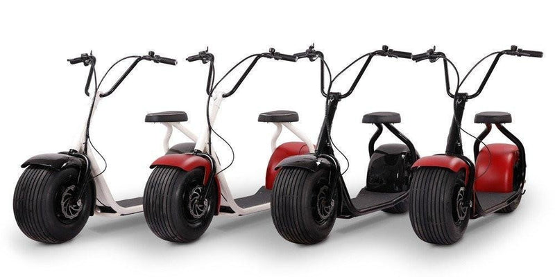 SSR Motorsports 800W SEEV-800 Fat Tire Electric Scooter - four scooters lined up