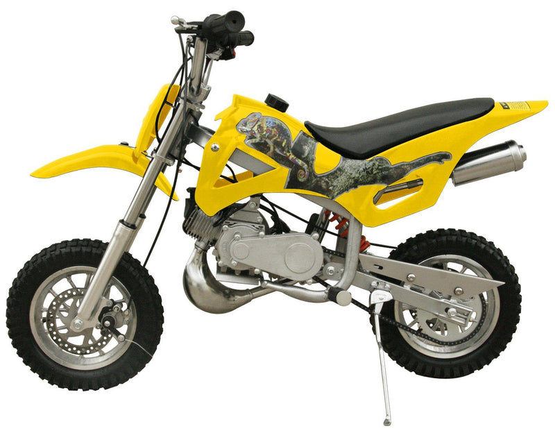 49cc 50cc 2-Stroke Gas Motorized Mini Dirt Pit Bike - yellow side