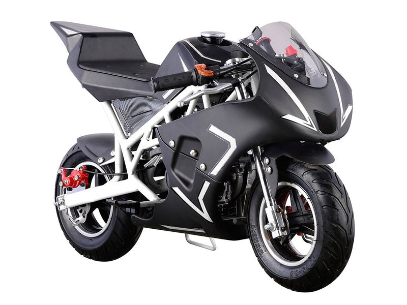 40cc 4 Stroke Gas Powered Mini Superbike - black front