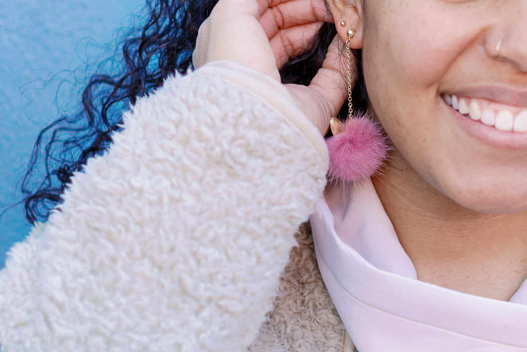 Persian Cat Pom Pom Earrings