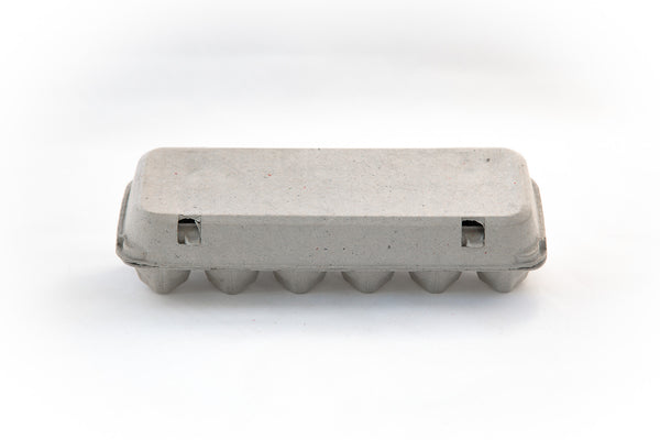 Image of a 12 count cardboard paper pulp egg carton with a flat blank top.