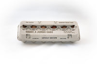 Image of a cardboard paper pulp egg carton with stock print in size Jumbo.