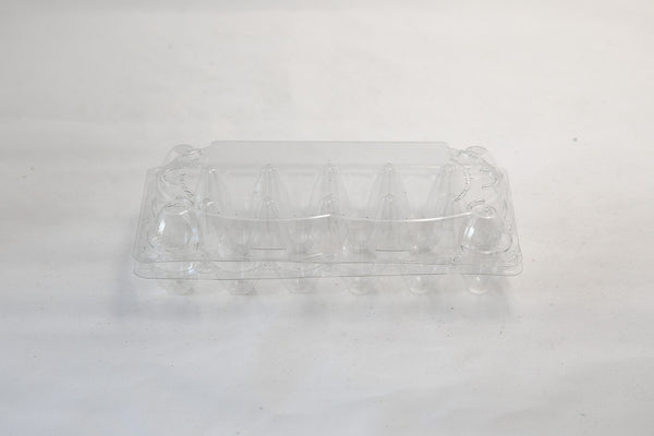 Image of a 12-count clear plastic egg carton for quail eggs.
