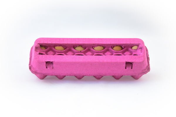 Image of a 12 count colored cardboard paper pulp egg carton in the color hot pink with a blank view top.