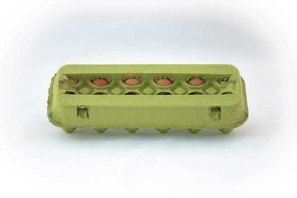 Image of a 12 count colored cardboard paper pulp egg carton in the color lime green with a blank view top.