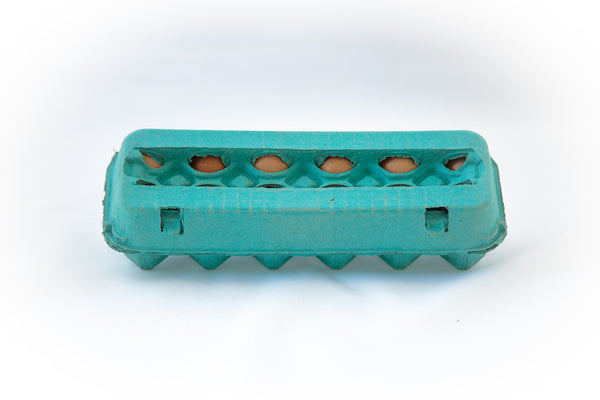 Image of a 12 count colored cardboard paper pulp egg carton in the color teal with a blank view top.