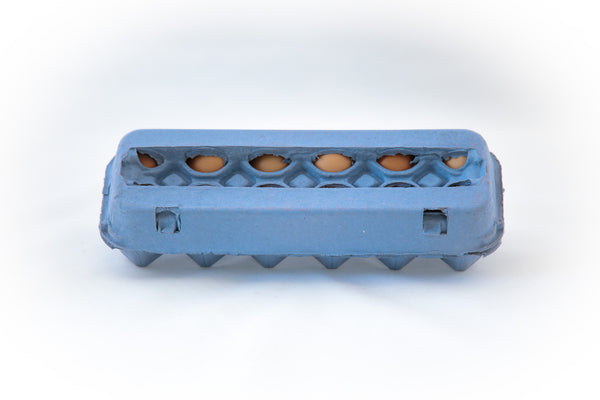 Image of a 12 count colored cardboard paper pulp egg carton in the color vintage blue with a blank view top.