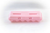 Image of a 12-count styrofoam egg carton with a blank flat top and in the color pink.