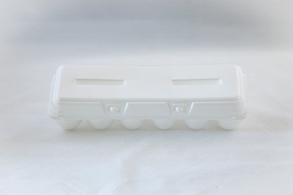 Image of a 12-count styrofoam egg carton with a blank flat top and in the color white.