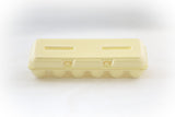 Image of a 12-count styrofoam egg carton with a blank flat top and in the color yellow.