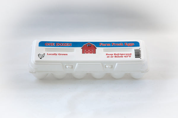 "Image of a white 12-count styrofoam egg carton with stock printing ""farm fresh eggs""."