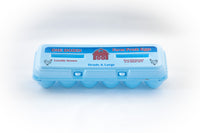 Image of a 12-count styrofoam egg carton in the color blue and with stock print for Large eggs.