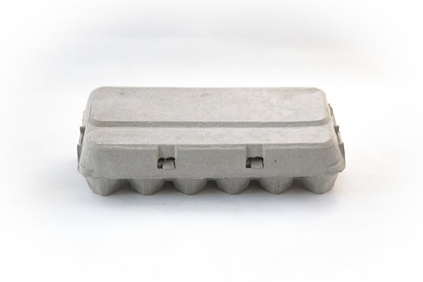 Image of an 18 count cardboard paper pulp egg carton with a flat blank top.