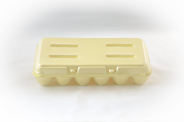 Image of an 18-count styrofoam egg carton with a blank flat top and in the color yellow.