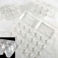 Image of a clear plastic egg carton that splits into two egg cartons for quail eggs.