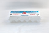 Image of a 12-count Extra Large stock printed styrofoam egg carton.