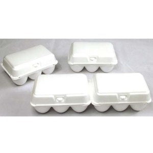 Image of a 12-count white styrofoam egg carton that splits into two cartons of 6 eggs each with flat blank tops.