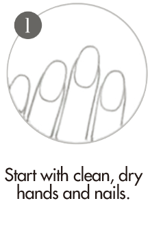 How to apply nail wraps step 1 - Apply your nail wraps, start with clean dry hands and nails.