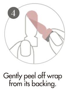 How to apply nail wraps step 4 - Gently peel off the nail wrap strip from backing.